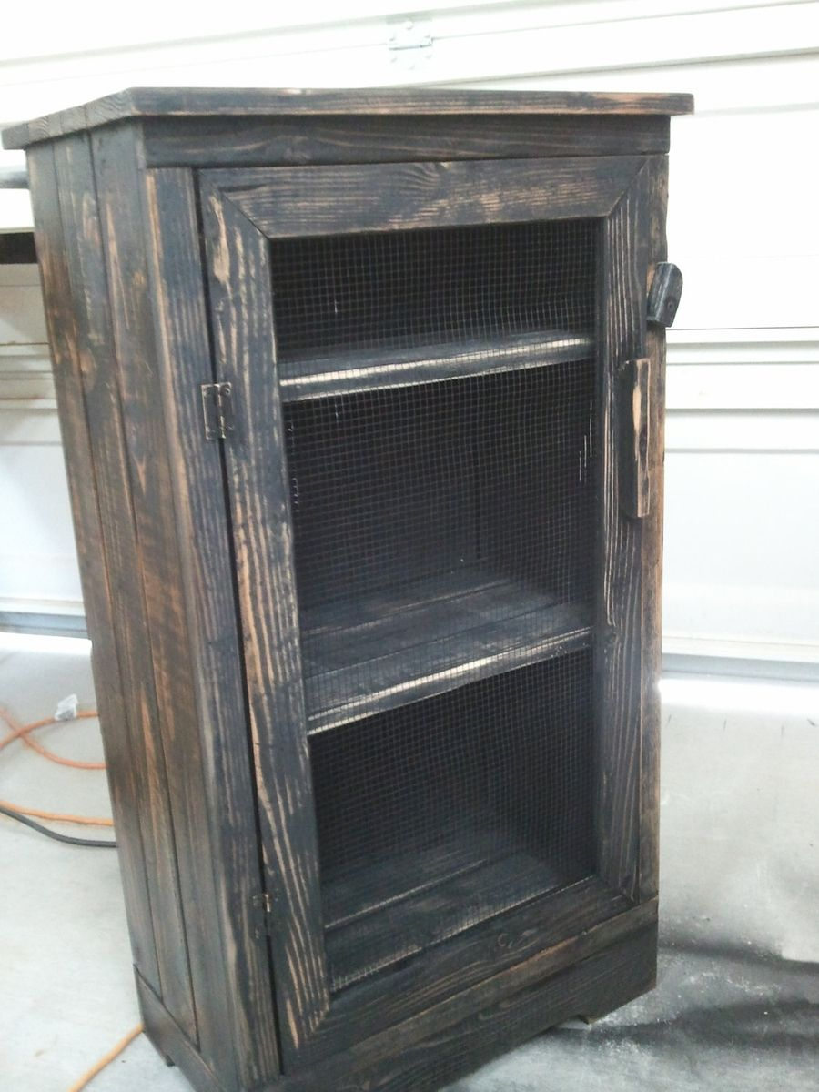 Hand Made Black Distressed Wood Jelly Storage Cabinet by
