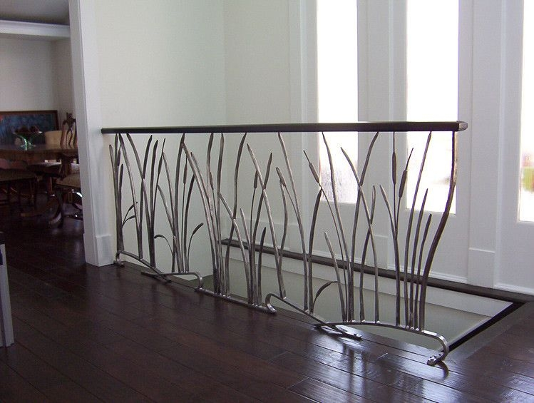 Custom Cat Tail And Willow Interior Wrought Iron Railing By Iron   Wrought Iron Railing Interior   Walnut Iron   Wood   Farmhouse   Country Style   Horizontal
