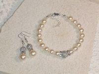 Custom Pearl & Crystal Bracelet & Earring Set - Wedding ...