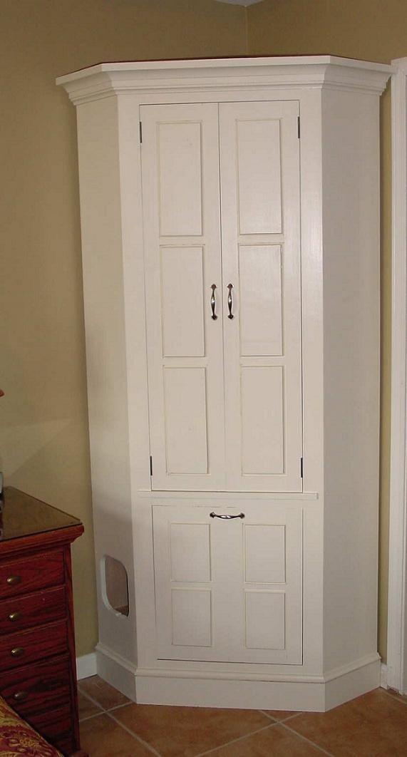 Handmade Pine Corner Cabinet WHidden Cat Box by Decarlo