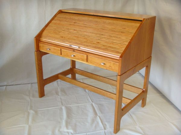 Handmade Cherry Roll Top Desk by Prokops woodshop