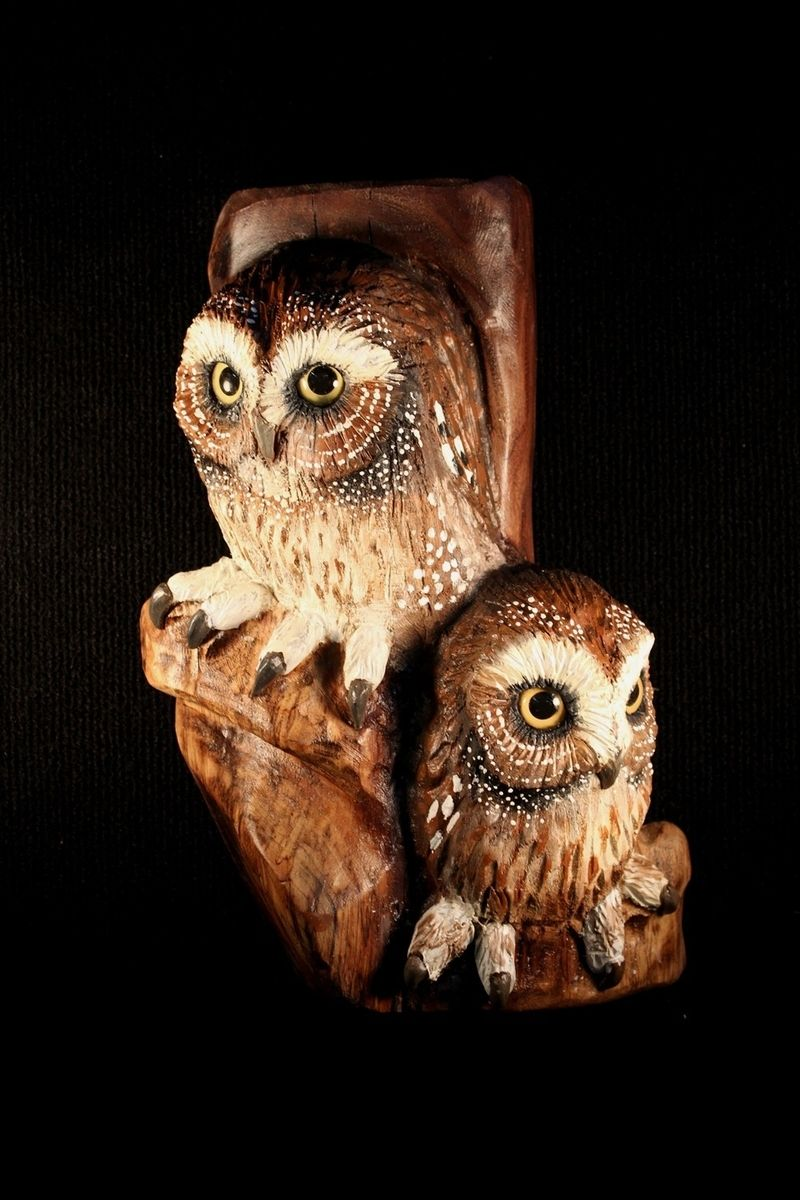 Custom Made Wood Carving Owl Wall Art by Donna Maries Art