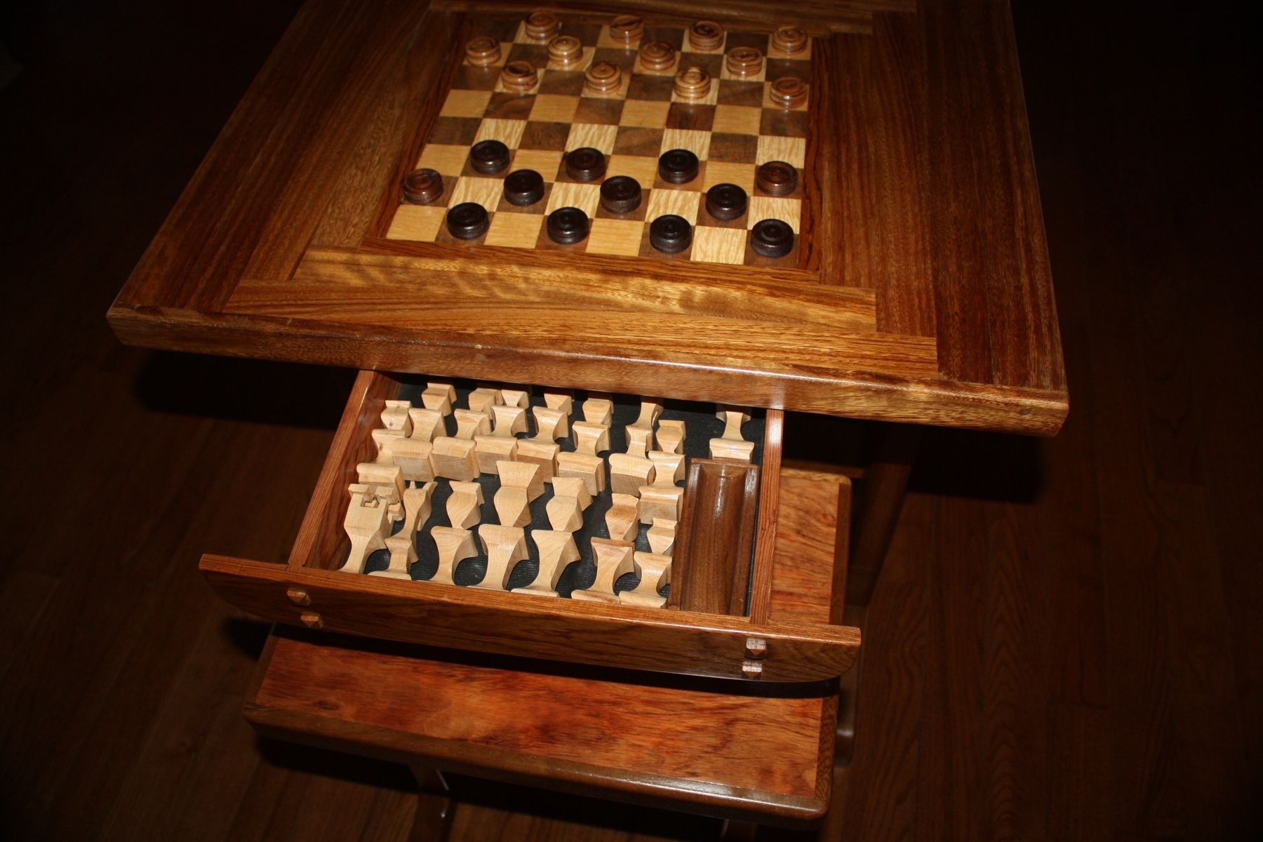 Custom Chess Table And Benches W Chessmen And Checkers by