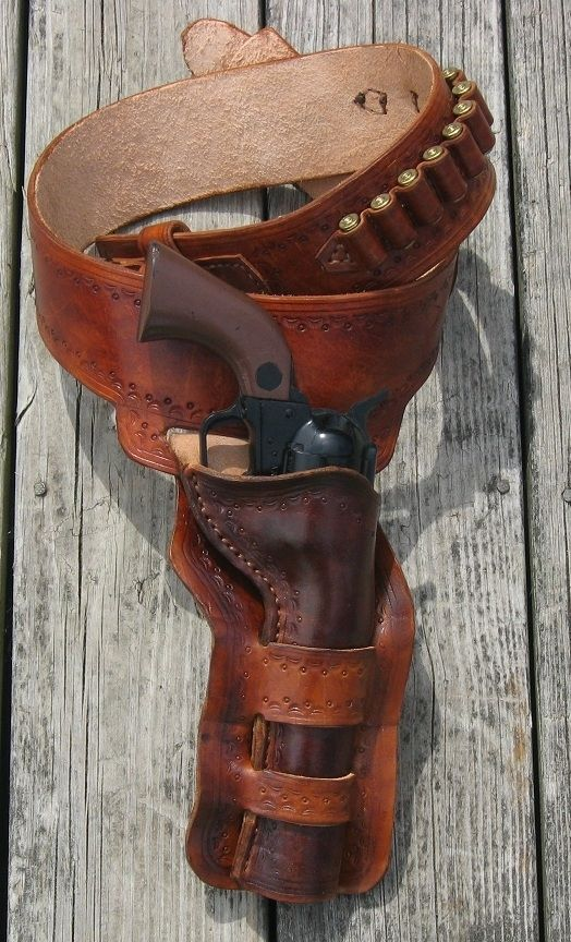 Western Double Leather Revolver Holster