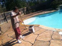 Hand Cement Overlay - Pool Deck Minden La