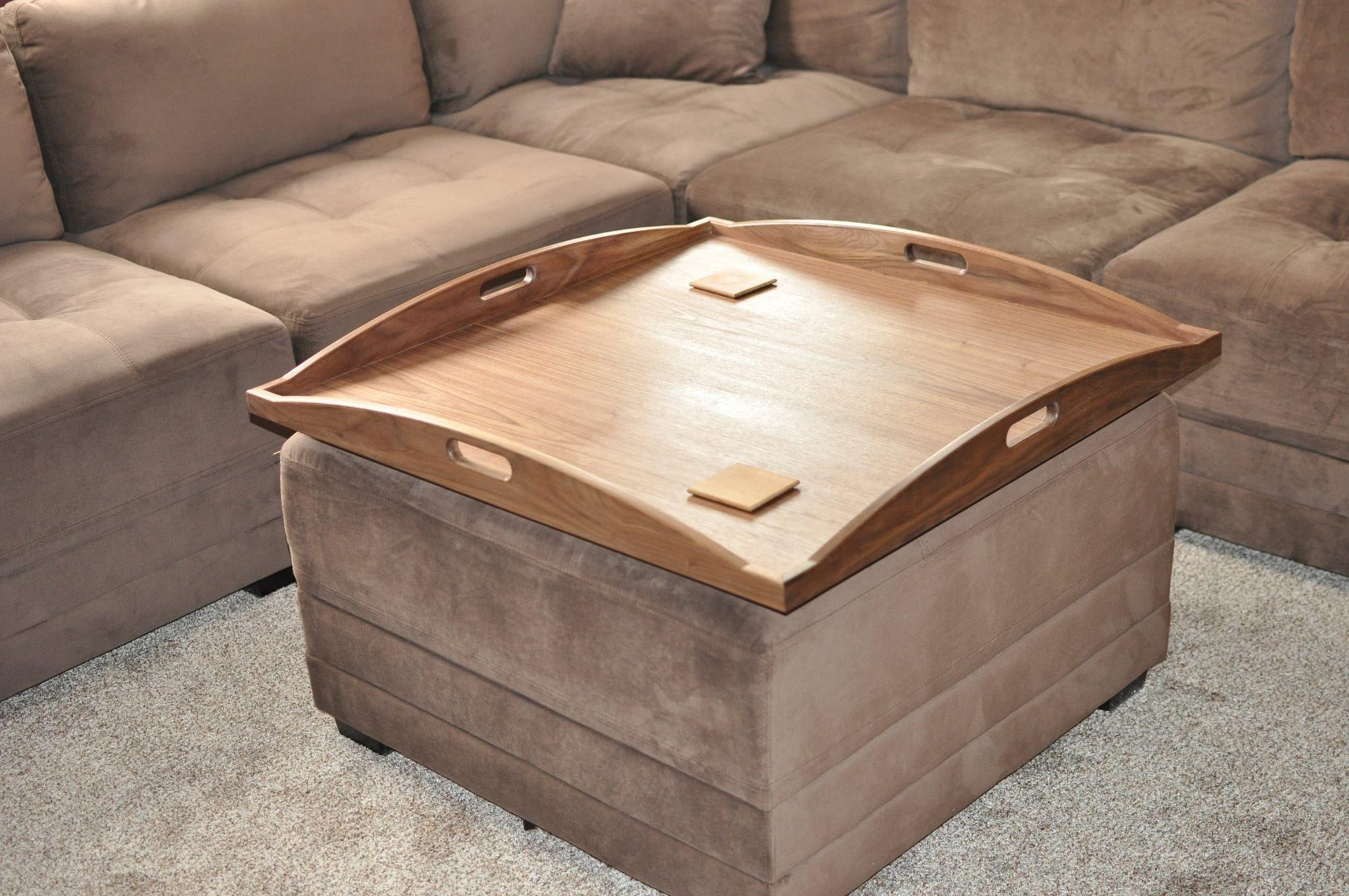 beautiful walnut custom ottoman tray