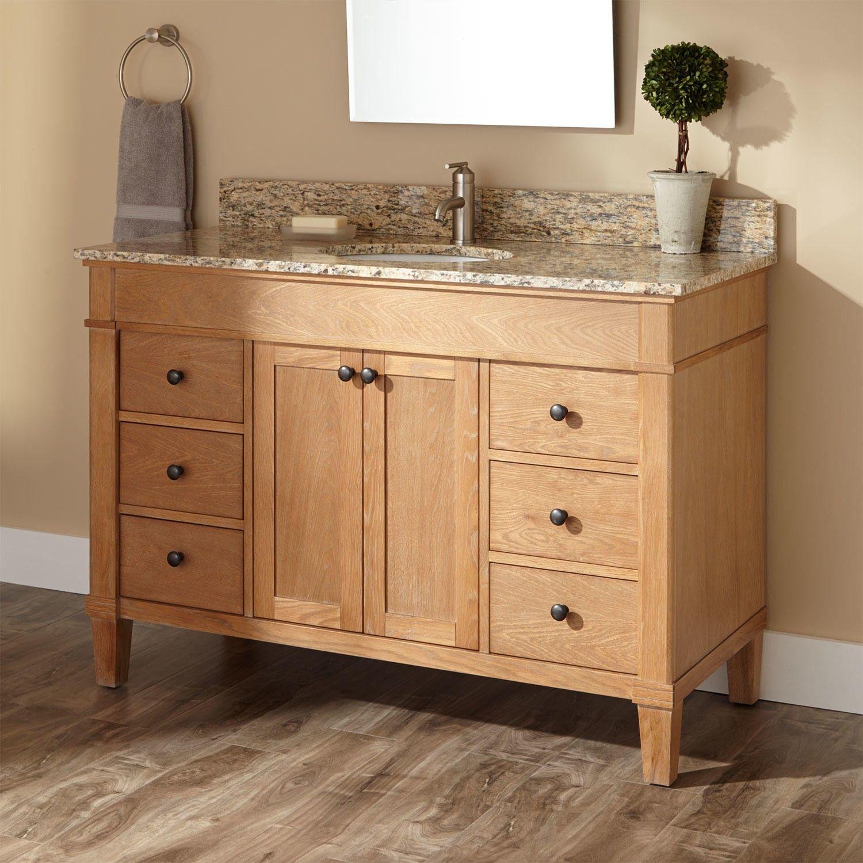 Custom White Oak Furniture Vanity by SDG Cabinetry