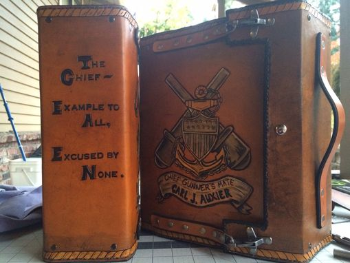 Buy a Custom Made Coast Guard Chief Leather Charge Book made to order from Saxon Leather art