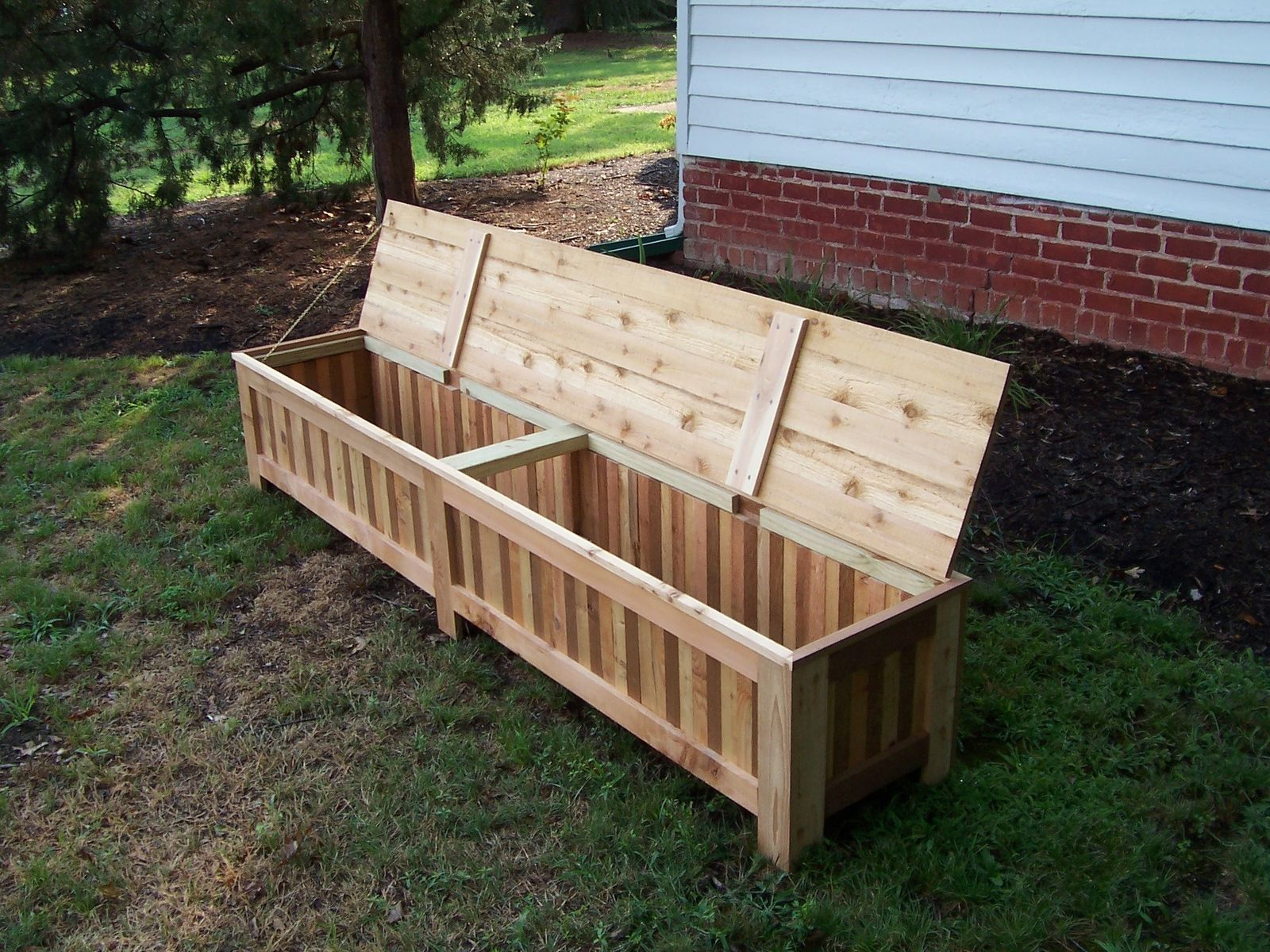 custom western red cedar patio storage bench