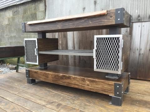sofa table storage baskets square corner sofas buy a hand crafted rustic industrial wine bar/buffet ...
