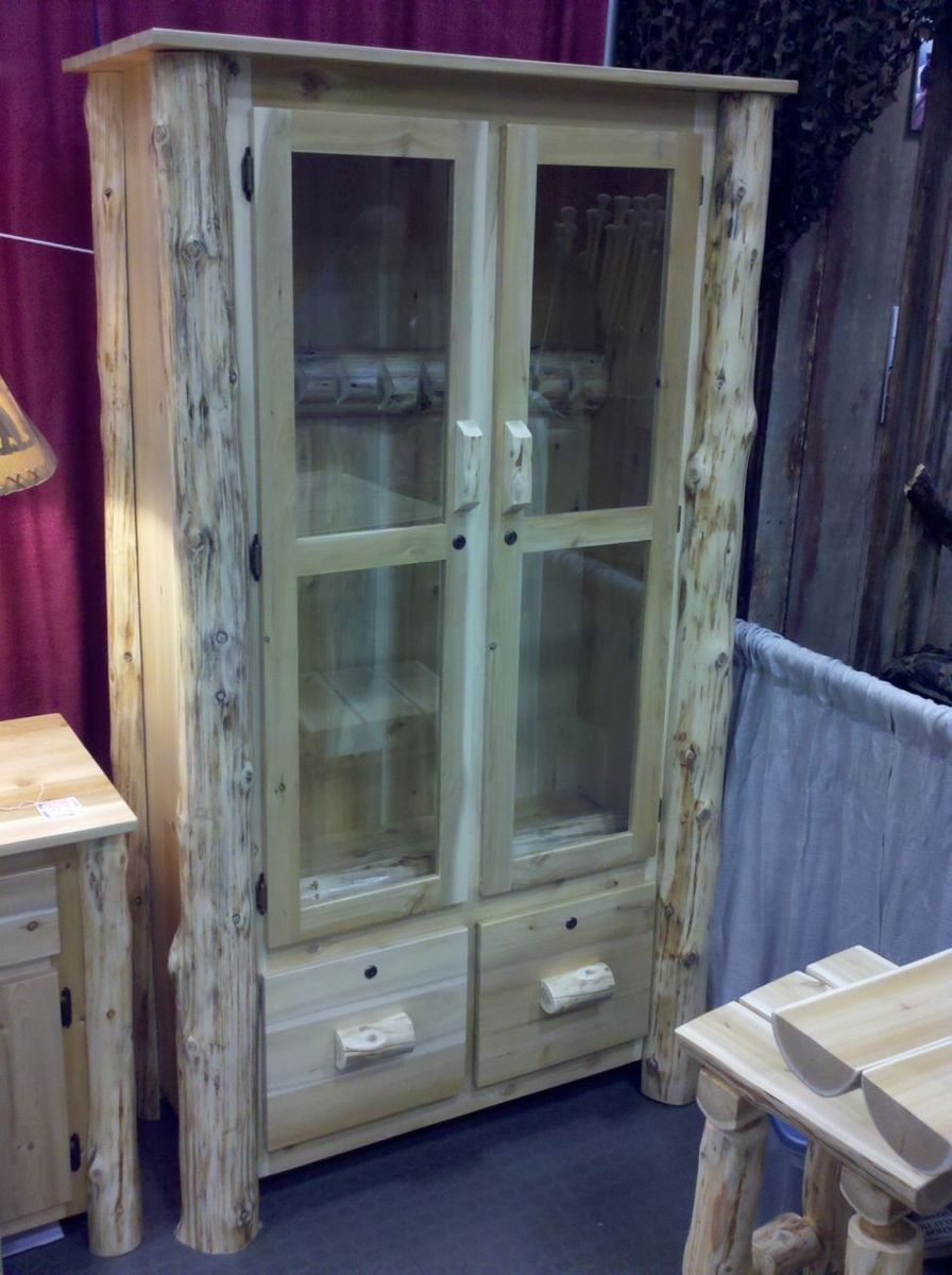 Hand Made Log Gun Cabinet By Ml Cross Llc