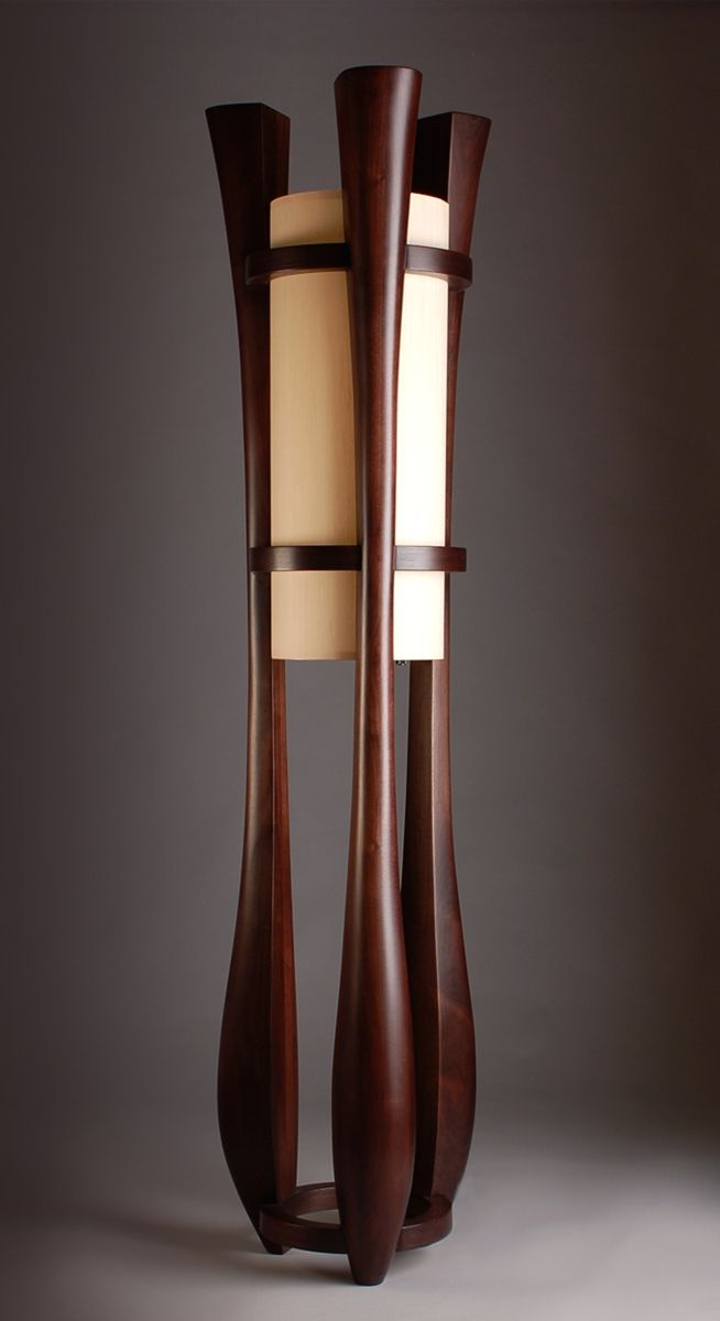 Hand Made Chronos Three Legged Walnut Floor Lamp by Kyle