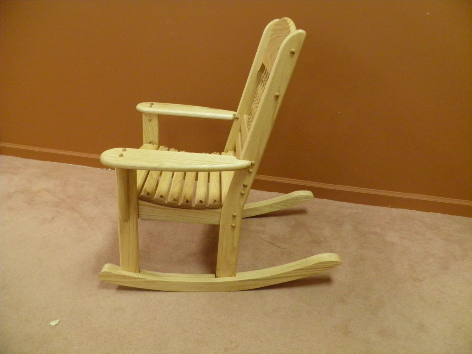 kids wooden rocking chair wicker wing back hand made childrens by windy woods