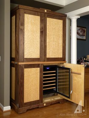 Hand Crafted Custom Walnut And Birdseye Maple Liquor Cabinet Bar By Alan Harp Design