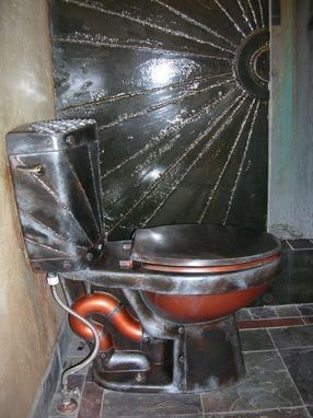 Hand Crafted Steampunk Meets Monster Garage Altered Copper And Metal Toilet By The Art