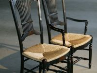Custom Black Fan Back Style Dining Chairs With Rush Seat ...