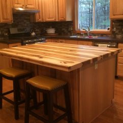 Kitchen Island Top Roll About Cart Handmade Solid Hickory Bar By Glessboards Custom Made