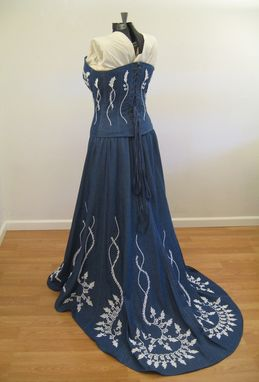 Handmade Denim And Lace Corset Wedding Dress By Hourglass