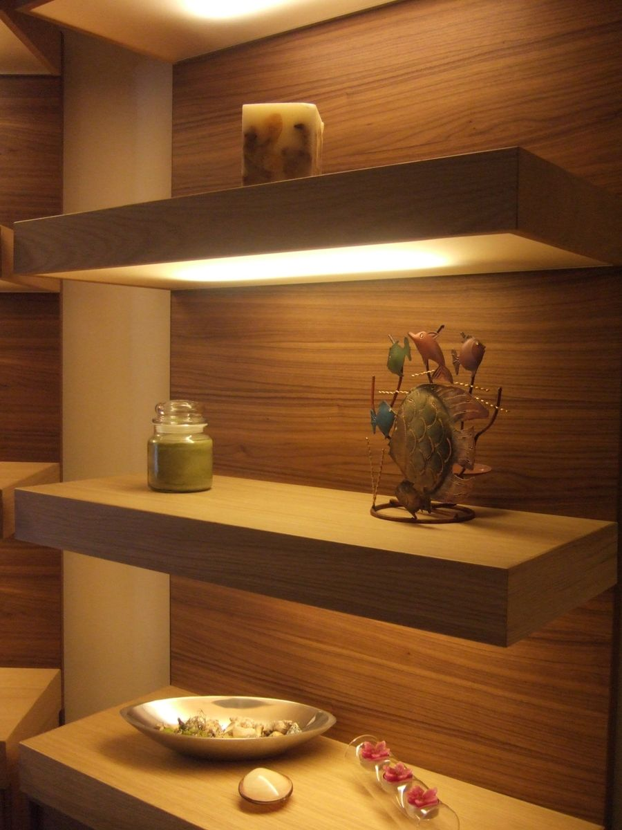 Custom Made Lighted Floating Shelves by Ecostruction Llc