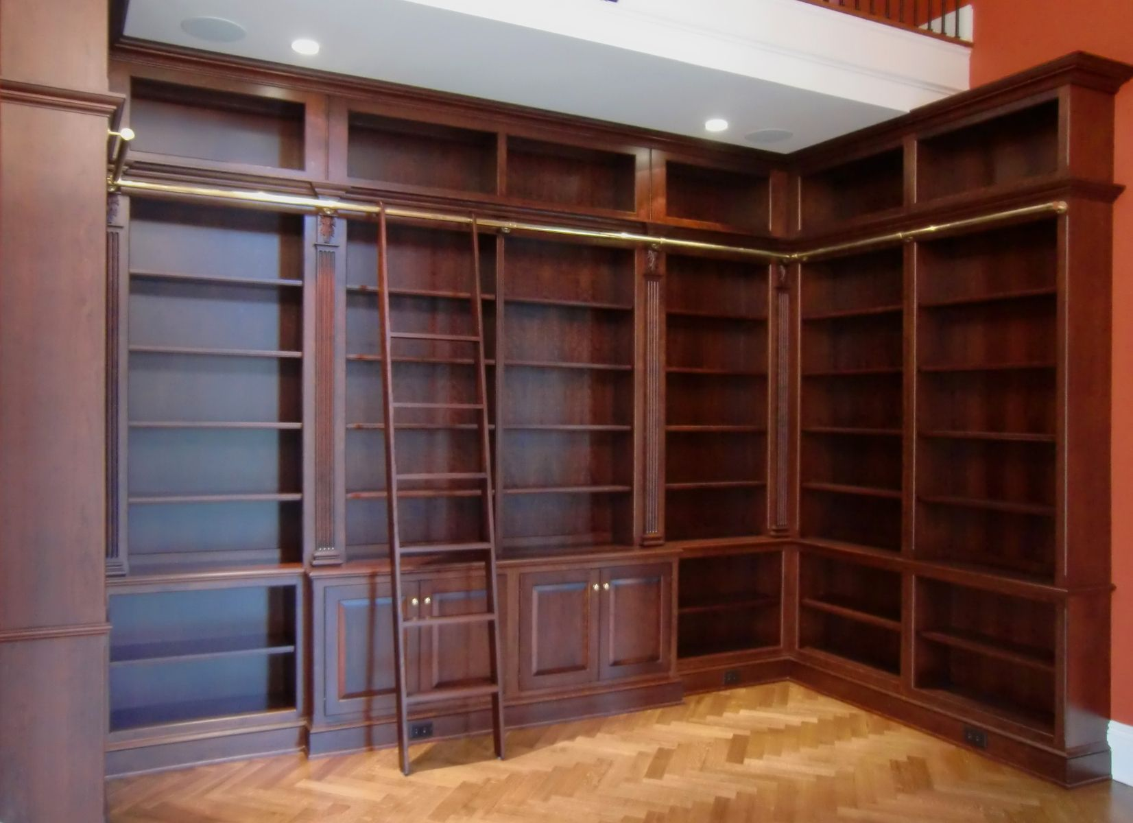 Hand Crafted Library Bookcases With Ladder by Odhner