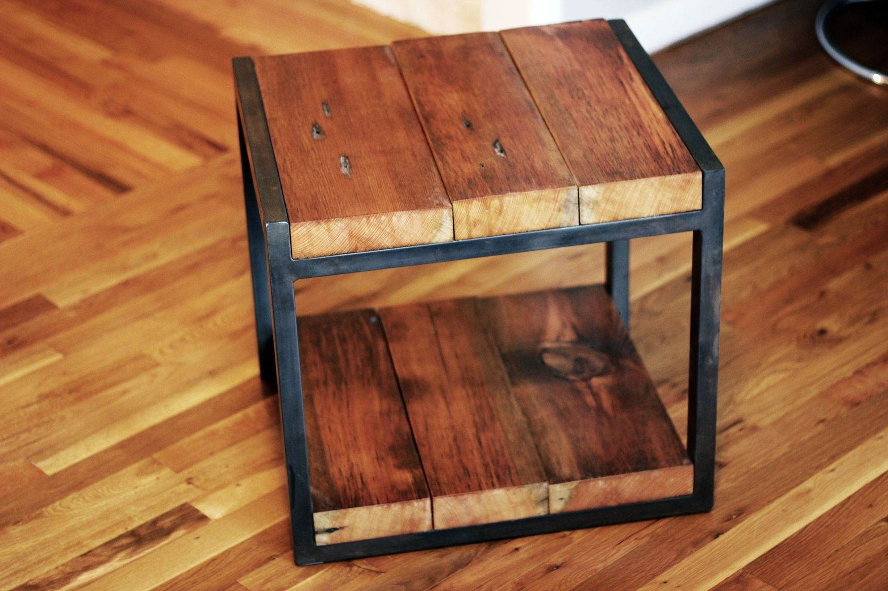 Custom Reclaimed Wood, Steel Side Table by Barreto Studios