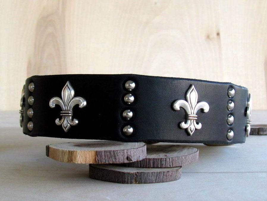Hand Made Dog Collar Fleur De Lis Latigo Leather by Big