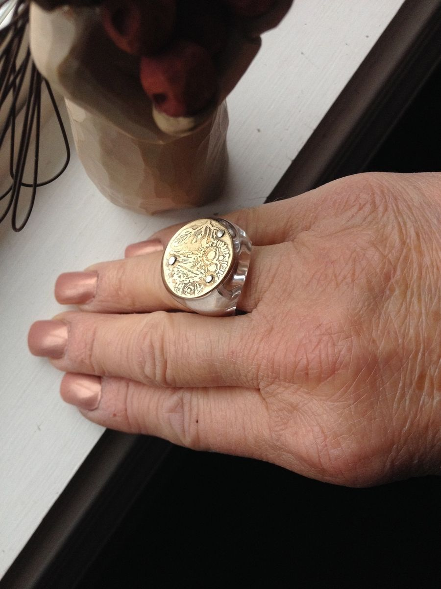 Hand Crafted Greek Coin Ring by Maria Varnalis Art