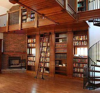 Hand Made Library With Rolling Ladder by Heritage