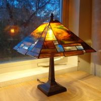 Hand Made Mission Style Lamp With Stained Glass Lamp Shade ...