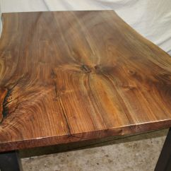 Black Walnut Kitchen Table Blonde Cabinets Custom Live Edge By Witness Tree Studios