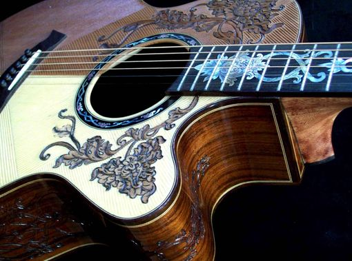 Custom Made Blueberry Split Top Floral Motif Acoustic