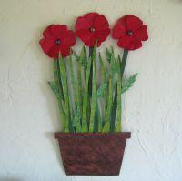 Buy a Hand Made Metal Flower Wall Art Sculpture - Poppies ...