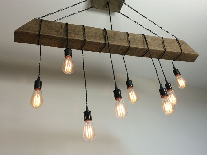 Custom Made Reclaimed Barn Beam Light Fixture Bar Restaurant Home Edison Bulb