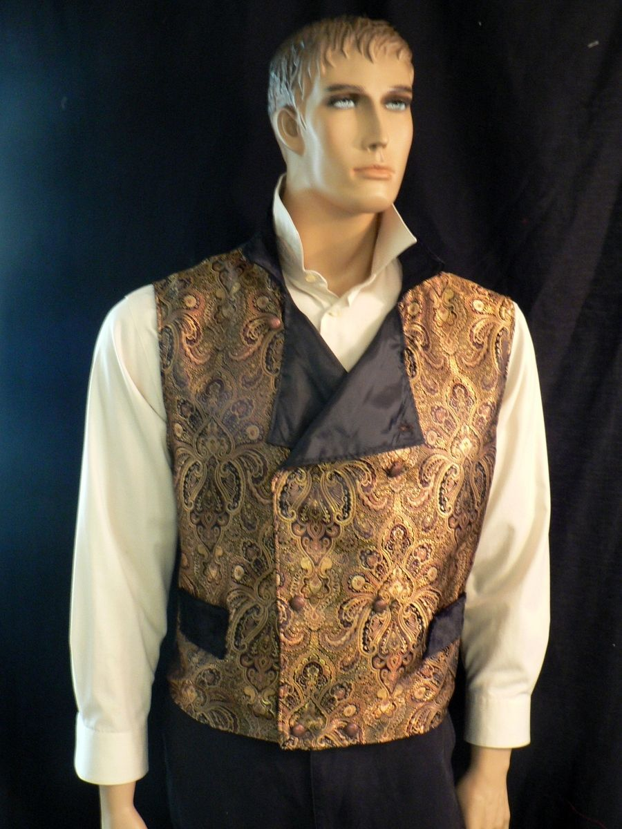 Hand Made SteampunkVictorian Mens Gold Brocade Vest by Khloes Custom Clothing  CustomMadecom