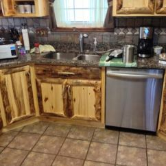 Hinges For Kitchen Cabinets Pot Hanger Hand Made Rustic Aspen Log And Built In ...