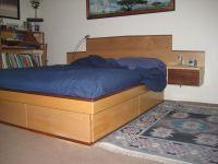 Custom Maple Platform Bed With Storage Drawers And Walnut ...