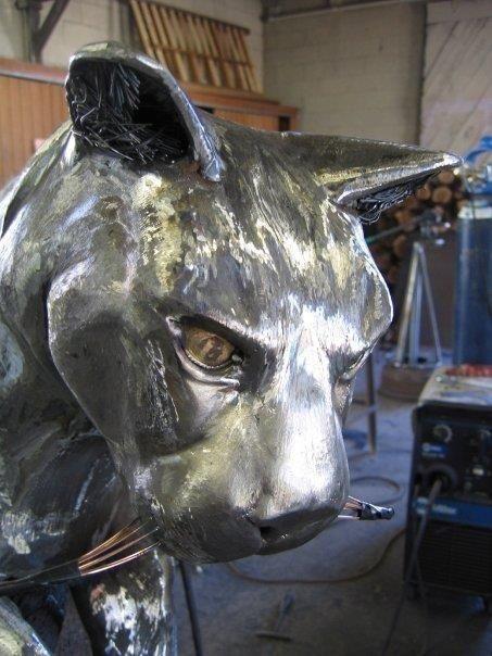 Custom Mountain Lion Fabricated Metal Sculpture by Jacob Dean Metal Sculptor  CustomMadecom