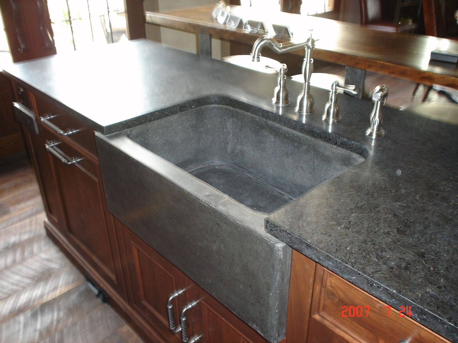 concrete kitchen sink round tables for sale hand crafted farm and slab by rock a hard place