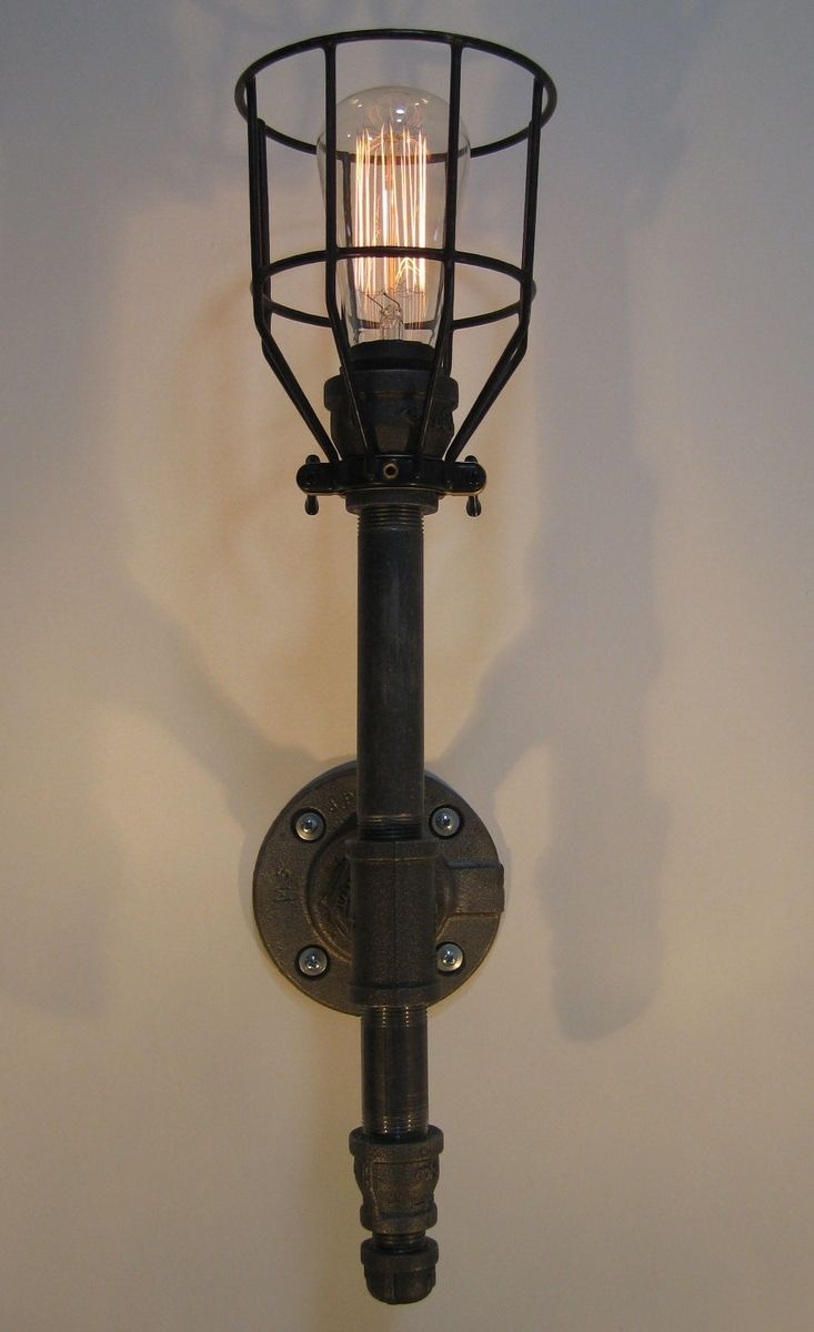 Handmade Wall Sconce: Black Malleable Iron