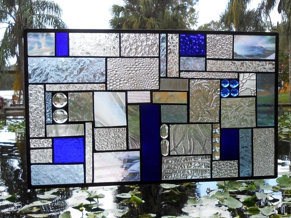 Handmade Stained Glass Panel Shades Of Blue Crazy