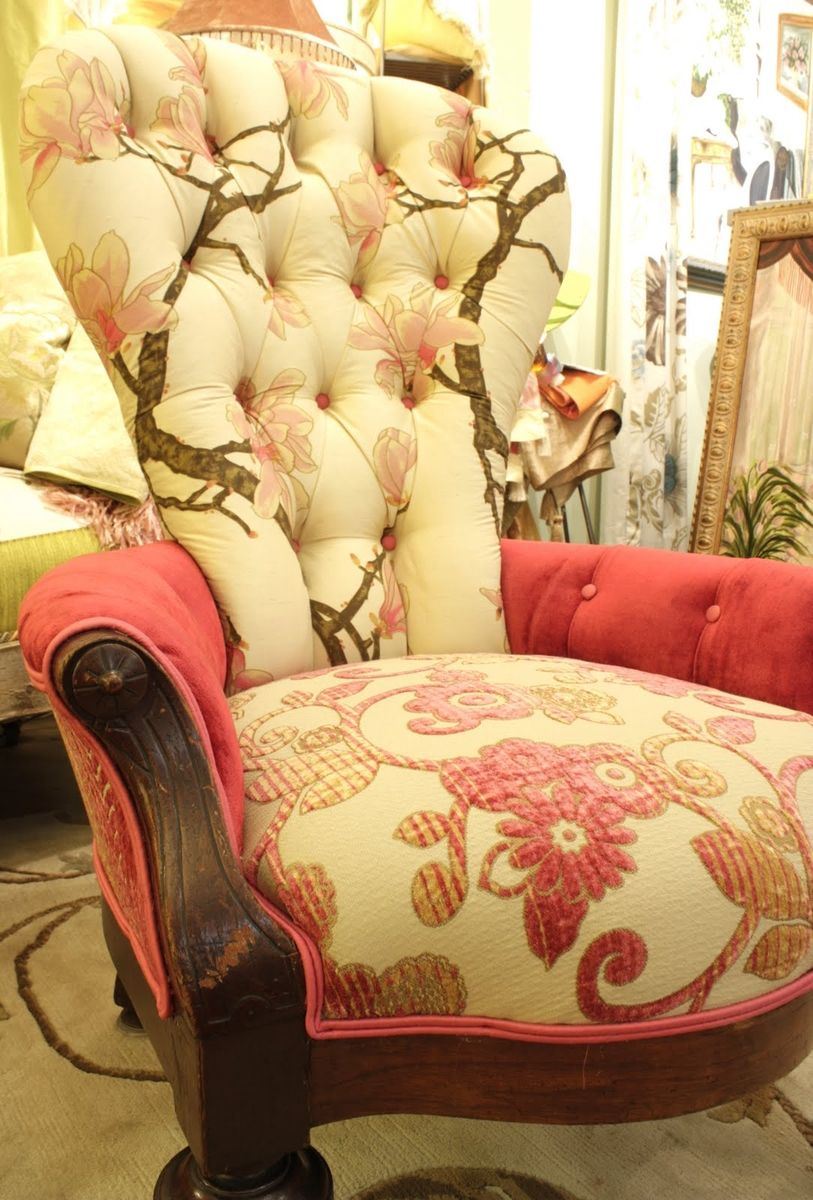 Hand Crafted Upholstered Vintage Victorian Ladies Chair In