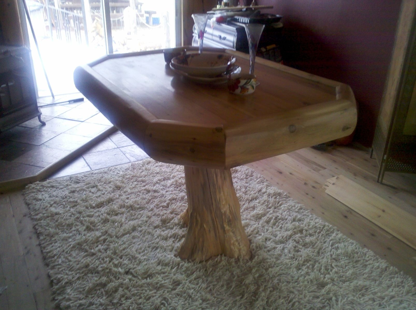 Custom Cedar Stump Base Table By Cedar Creek Woodworking