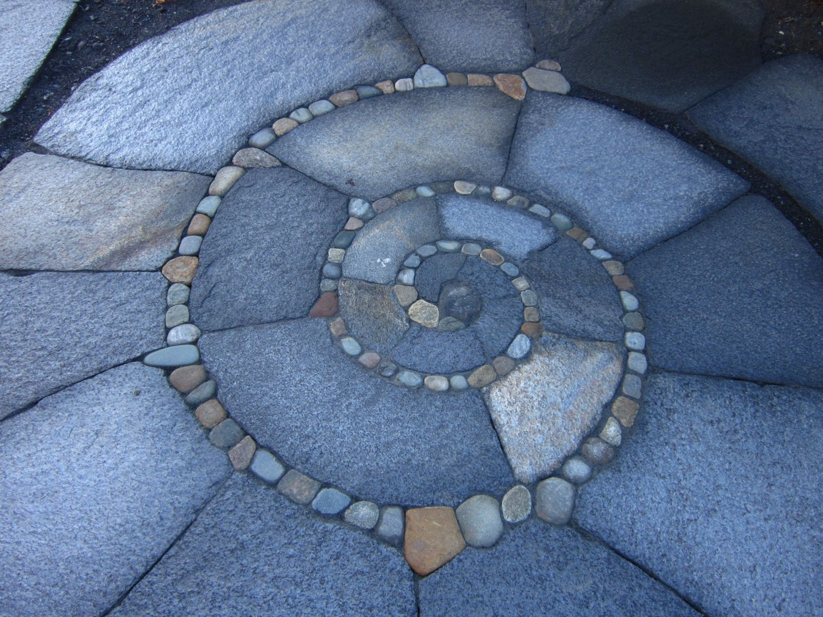 Custom Made Spiral Patio, Walkway, Low Retaining Wall, And