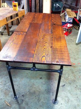 Custom Made Barn Wood Fir And Cast Iron Pipe Desk by JS