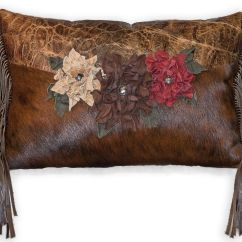 Cowhide Sofa Throws Good Quality Sleeper Hand Made Pillow With Handmade Leather Flowers By