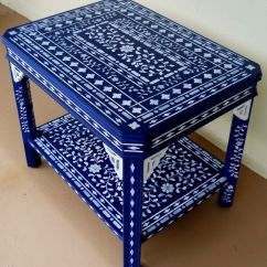 Chairs Wedding Poland White Patio Chair Hand Made Blue Stenciled Accent Table By Aldana Decoative