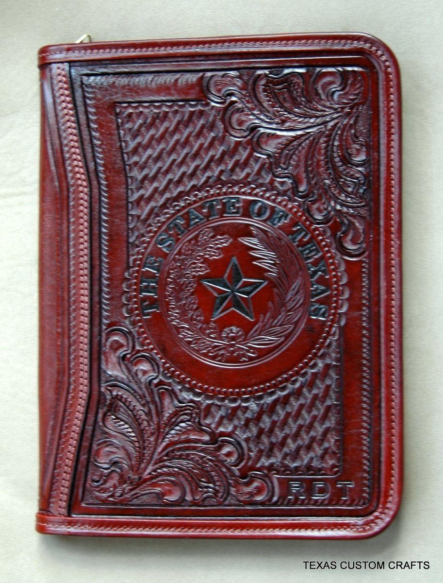 Handmade Custom Leather Portfolio By Texas Custom Crafts