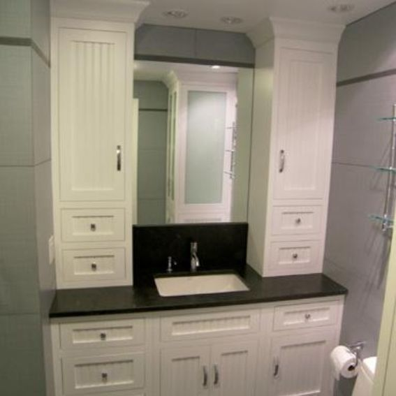 Hand Made Bathroom Vanity And Linen Cabinet by Edko Cabinets Llc  CustomMadecom