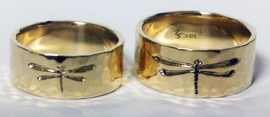 Hand Made Dragonfly Wedding Bands By Goldcrafters Corner
