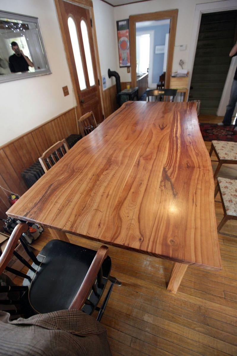 Custom Made Live Edge Cherry Kitchen Table by Wooden Hammer Llc  CustomMadecom